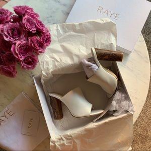 RAYE Boa Heels White Mules 6.5 Brand New in Box🐍